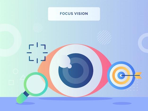 Focus vision concept oeil rétine à proximité de la flèche de lupe tourné sur la cible avec un style plat