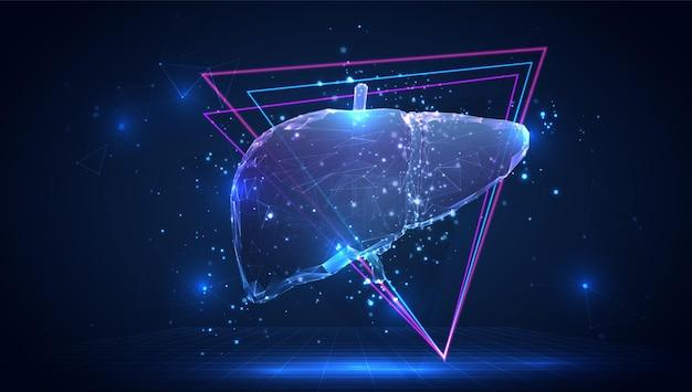Foie humain 3d de vecteur sur un fond bleu dans l'espace virtuel