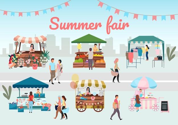 Foire d'été plat. étals de marché de rue en plein air, tentes commerciales avec lettrage publicitaire.