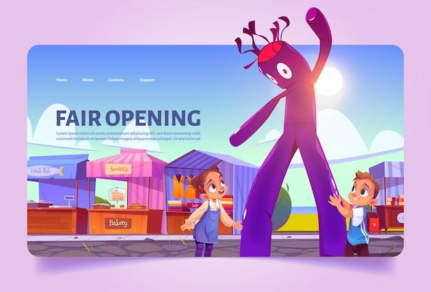 Foire d'ouverture de la page de destination des dessins animés pour les enfants au marché