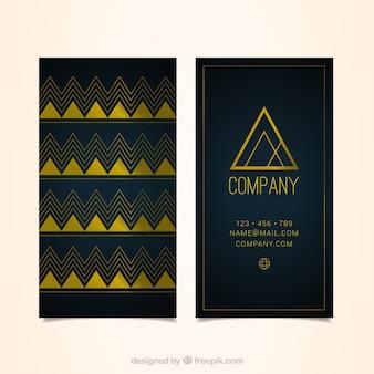 Foncé carte de visite bleu avec des triangles d'or