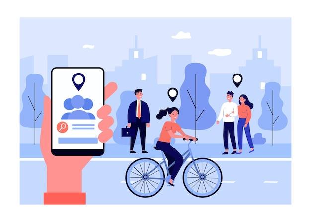 Fonction de géolocalisation dans les gadgets modernes. illustration vectorielle plane. main tenant un smartphone déterminant l'emplacement de chaque personne, citadins. géolocalisation, confidentialité, technologie, concept de vie urbaine