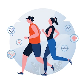 Fonctionnement. le jogging. journée mondiale de la santé.