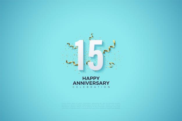 Fond de 15e anniversaire avec des chiffres sur un fond bleu ciel clair.
