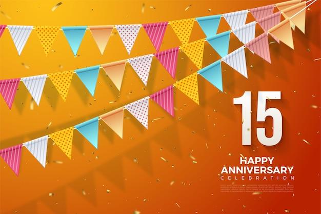 Fond de 15e anniversaire avec illustration de nombres et trois rangées de drapeaux colorés.