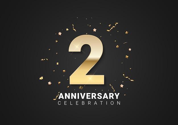 Fond de 2 anniversaires avec nombres d'or, confettis, étoiles sur fond noir clair. illustration vectorielle