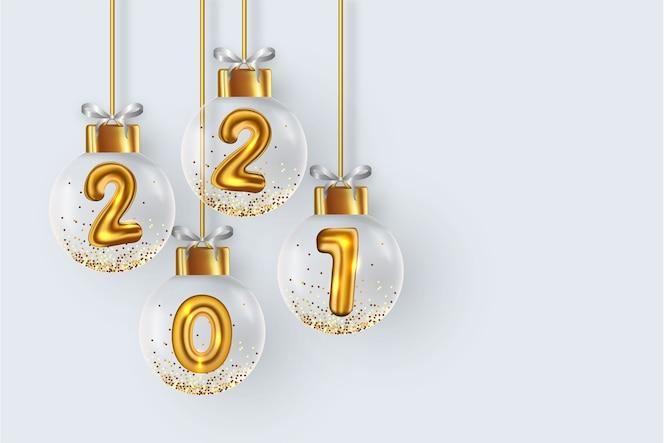 Fond de 2021 avec des boules de noël réalistes