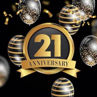 Fond de 21 anniversaire avec des éléments dorés