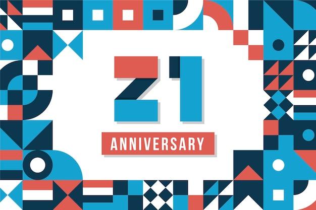 Fond de 21 anniversaire avec des formes géométriques