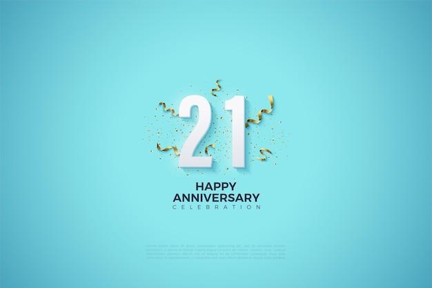 Fond de 21e anniversaire avec des chiffres et des bibelots de fête.