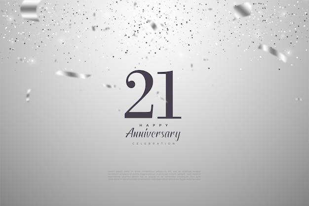 Fond de 21e anniversaire avec des chiffres et des illustrations de feuille d'argent.