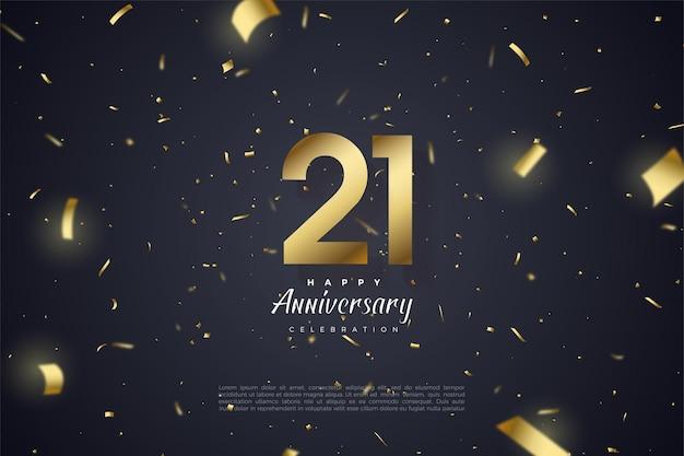 Fond de 21e anniversaire avec des chiffres et des illustrations en papier or.