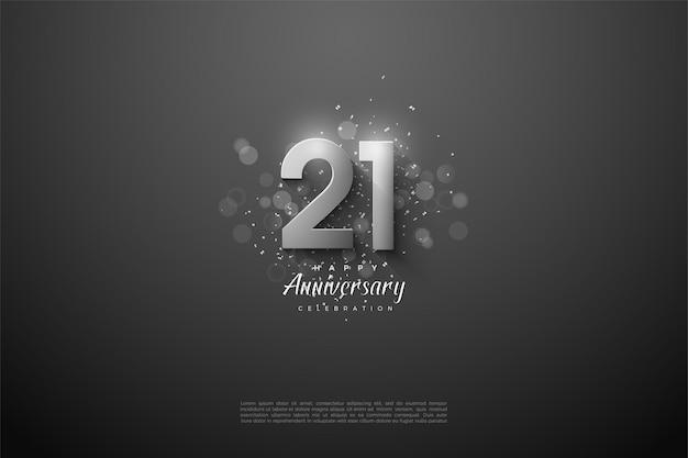 Fond de 21e anniversaire avec illustration de chiffres en argent 3d.