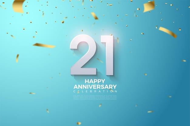 Fond de 21e anniversaire avec illustration de numéro 3d.