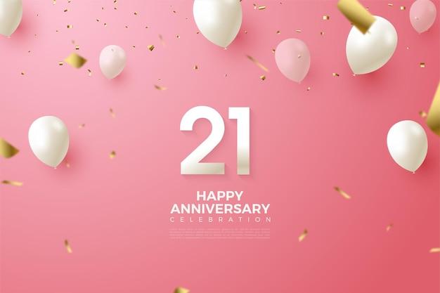 Fond de 21e anniversaire avec illustration de numéro et ballons blancs.