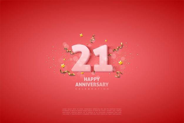 Fond de 21e anniversaire avec illustration de numéro blanc doux.
