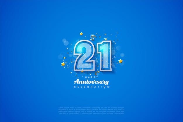 Fond de 21e anniversaire avec illustration de numéro décrit en bleu et blanc.