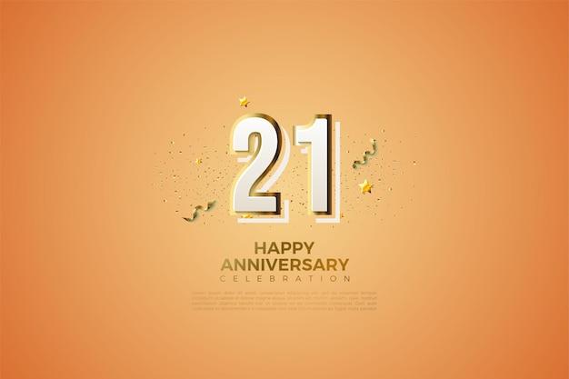 Fond de 21e anniversaire avec illustration de numéro de graffiti moderne.