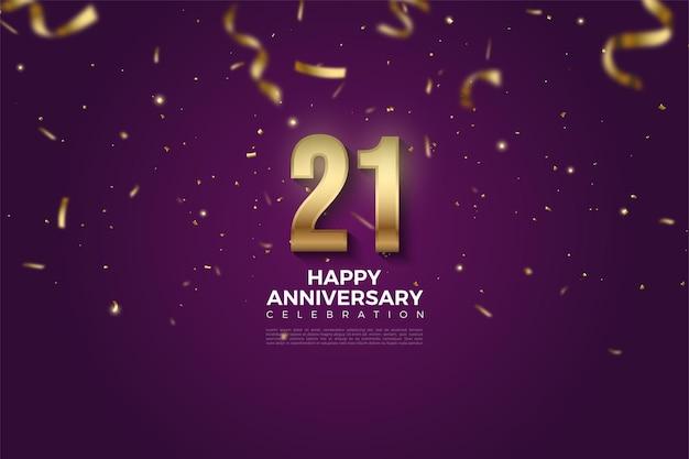 Fond de 21e anniversaire avec illustration de la pluie et des nombres de ruban d'or.