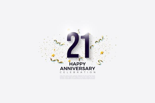 Fond de 21e anniversaire avec des illustrations de nombres et des fournitures de fête.