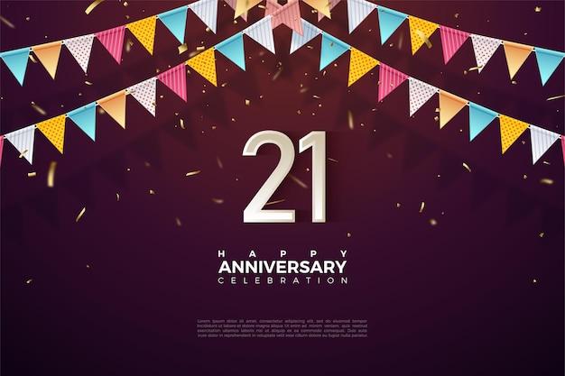 Fond de 21e anniversaire avec des numéros sous le drapeau 3d.