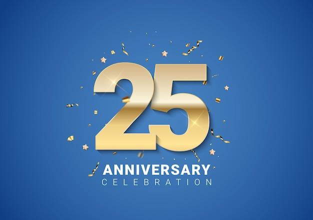 Fond de 25 anniversaire avec nombres d'or, confettis, étoiles sur fond bleu clair. illustration vectorielle eps10