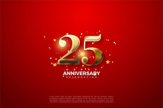 Fond de 25e anniversaire avec illustration de nombres dorés brillants.