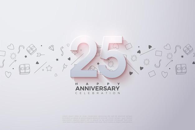 Fond de 25e anniversaire avec illustration numéro sur fond blanc avec photo.