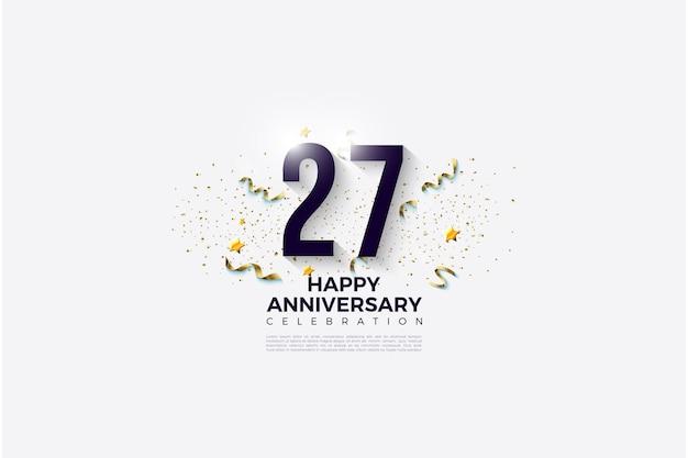 Fond de 27e anniversaire avec des chiffres et des bibelots de fête.
