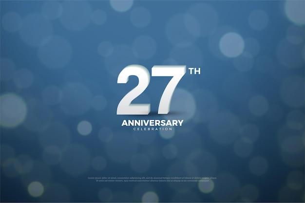 Fond de 27e anniversaire avec des chiffres sur le fond à l'aide de verre bleu marine aqueux.