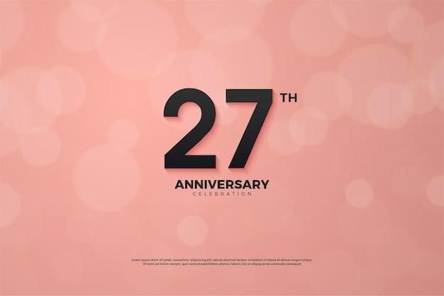 Fond de 27e anniversaire avec des chiffres noirs solides sur fond rose.