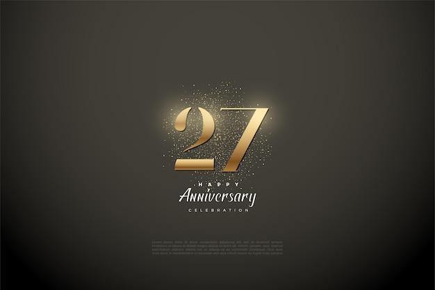 Fond de 27e anniversaire avec des chiffres en or et des paillettes.