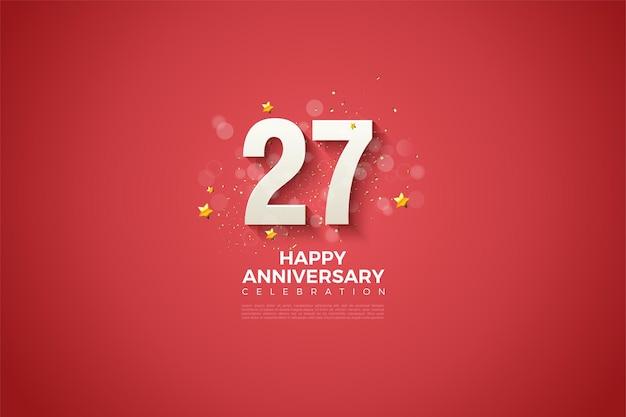 Fond de 27e anniversaire avec des chiffres et de petits cercles.