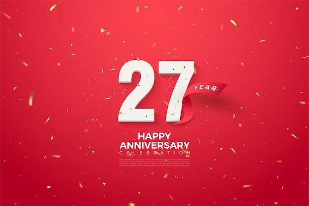 Fond de 27e anniversaire avec des chiffres rouges incurvés et ruban.