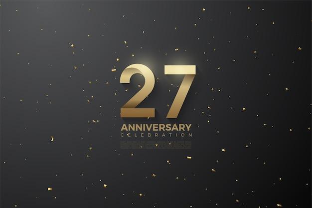 Fond 27e anniversaire avec des numéros à motifs et des taches brunes.