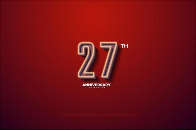 Fond de 27e anniversaire avec des numéros rayés blancs laiteux fanés.