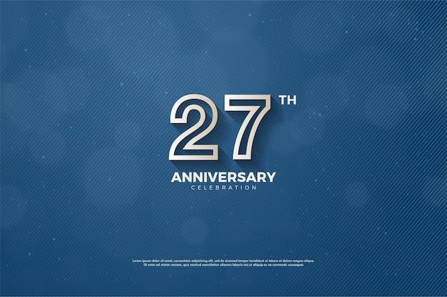 Fond de 27e anniversaire avec des numéros rayés marron sur fond bleu marine.