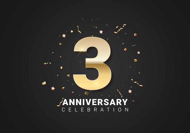 Fond de 3 anniversaires avec nombres d'or, confettis, étoiles sur fond de vacances noir brillant. illustration vectorielle