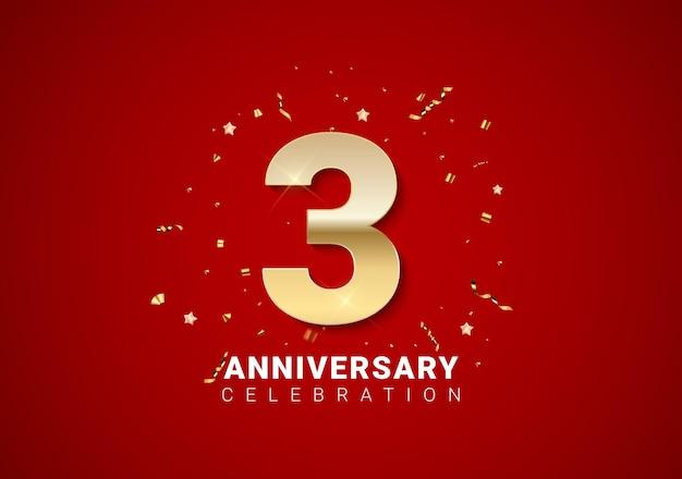 Fond de 3 anniversaires avec nombres d'or, confettis, étoiles sur fond de vacances rouge vif. illustration vectorielle eps10