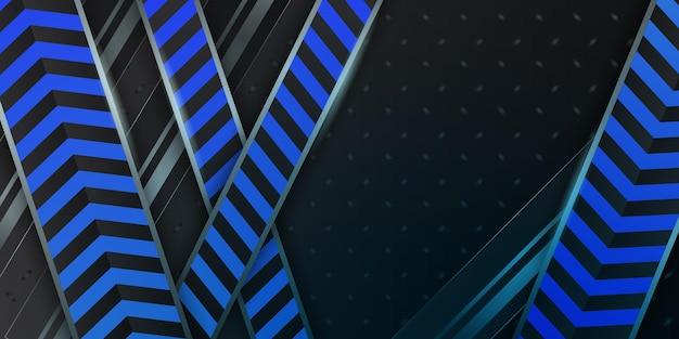 Fond 3d abstrait métallique bleu foncé moderne avec des couches de chevauchement dynamiques et une décoration lumineuse