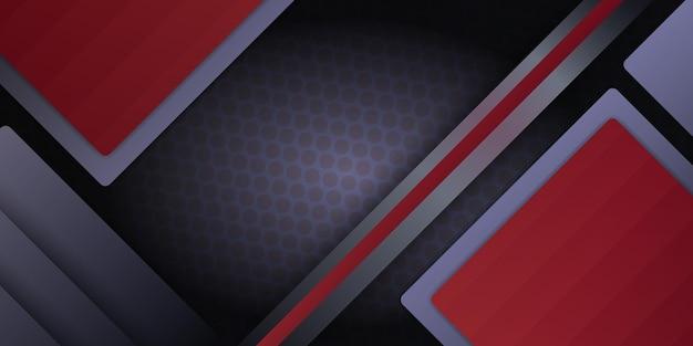 Fond 3d abstrait métallique rouge moderne avec des couches de chevauchement dynamiques et une décoration lumineuse