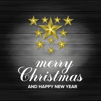 Fond 3d étoile joyeux noël et bonne année