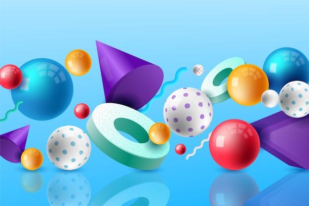 Fond 3d avec des formes colorées