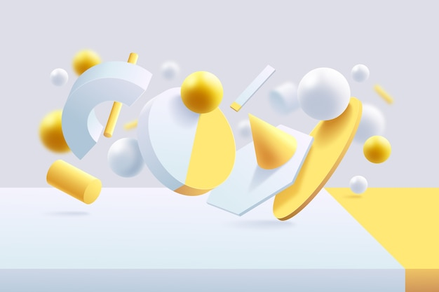 Fond 3d futuriste jaune et blanc