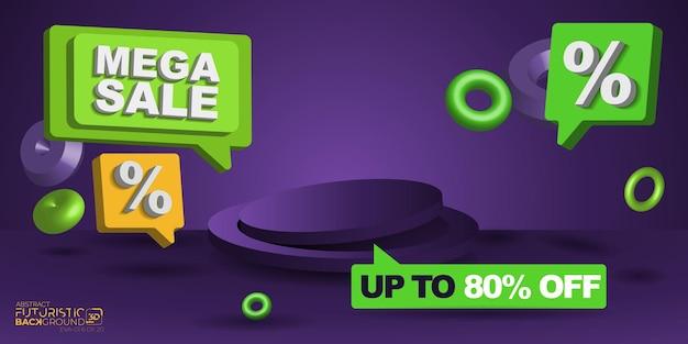 Fond 3d noir vendredi vente discount vert violet orange méga vente vecteur ensemble de fond