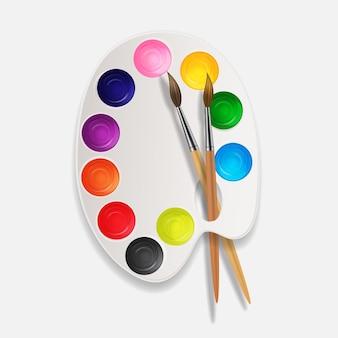 Fond 3d réaliste, boîtes avec fond d'art brosse et palette.