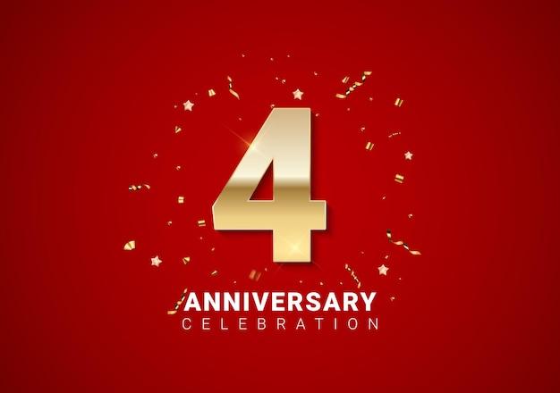Fond de 4 anniversaires avec nombres d'or, confettis, étoiles sur fond de vacances rouge vif. illustration vectorielle eps10