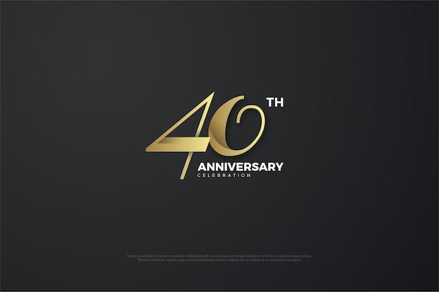 Fond de 40e anniversaire avec des nombres dorés sur fond noir.