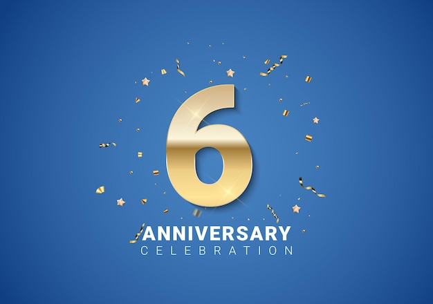 Fond de 6 anniversaires avec nombres d'or, confettis, étoiles sur fond bleu clair. illustration vectorielle eps10