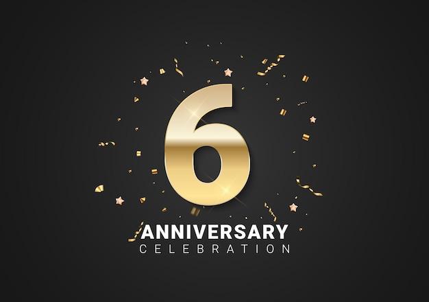 Fond de 6 anniversaires avec nombres d'or, confettis, étoiles sur fond noir clair. illustration vectorielle